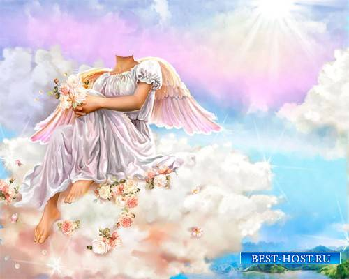 Женский шаблон - Ангелок на облаке с цветочками