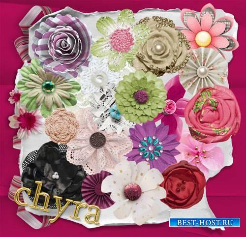 Клипарт  для творчества на прозрачном фоне – Цветы из бумаги и ткани