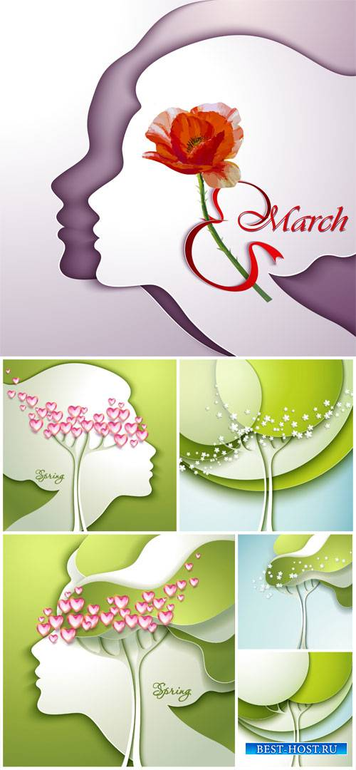 Spring vector backgrounds, women's day