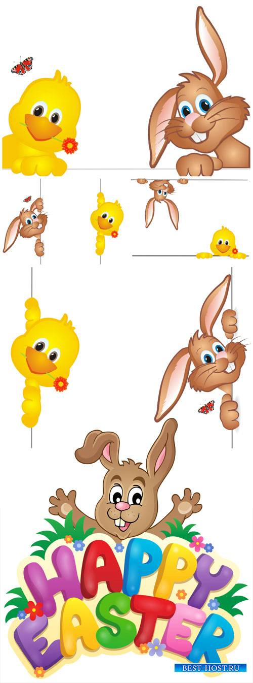 Easter vector, easter bunny and chicken