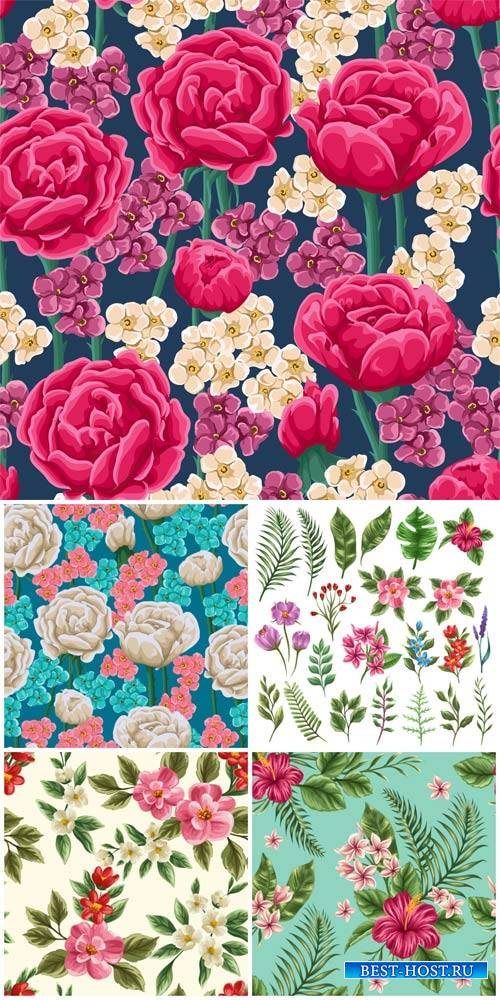 Flowers, vector background with flowers