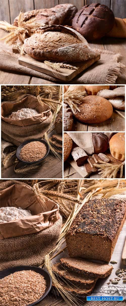 Fresh bread, flour, spikelets - stock photos