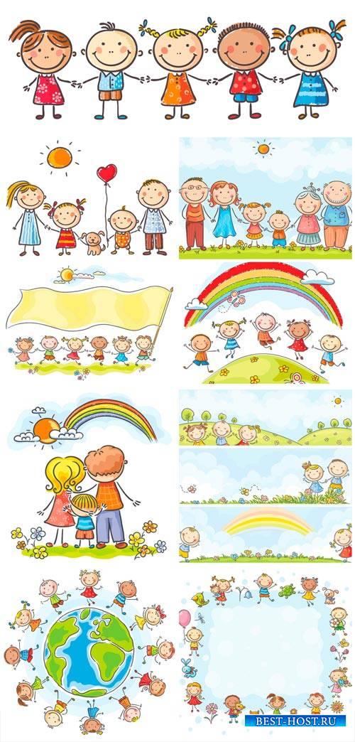 Happy family, children vector