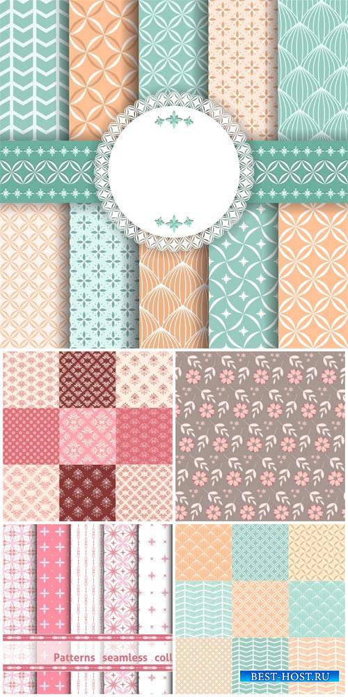 Textures with different patterns, floral backgrounds vector