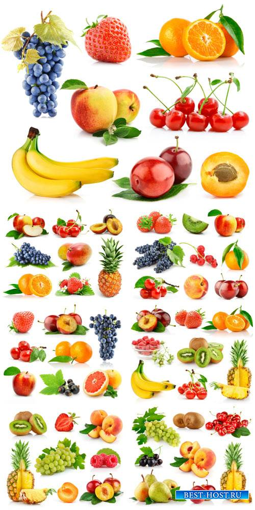 Fruits and berries, grapes, pineapple, strawberry, apple - stock photos