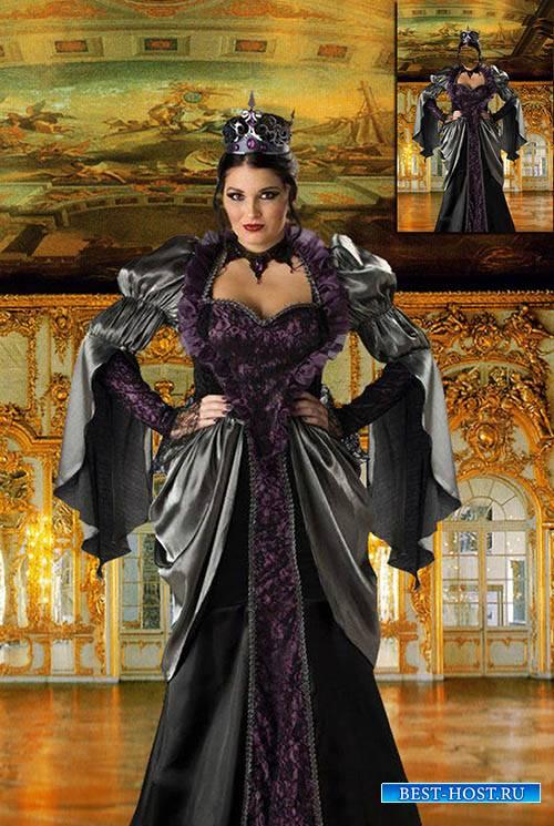 Женский фотошаблон - Королева в тронном зале