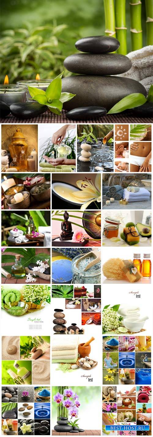 Spa collage, backgrounds with aromatic oils, spa stones and candles - stock ...