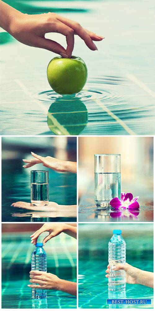 Water bottle and a glass of water - Stock Photo
