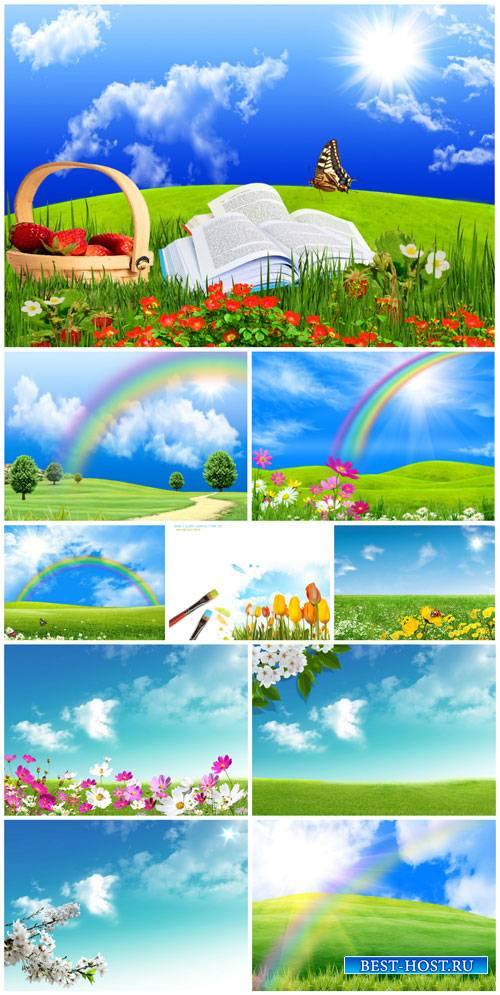 Natural landscape with rainbow, flowers and butterflies - stock photos
