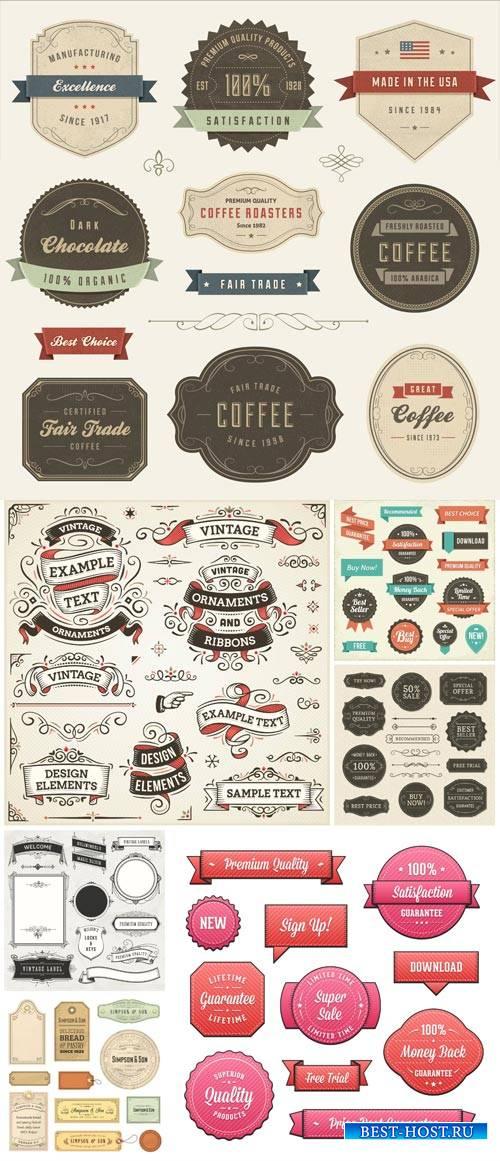 Labels vector, vintage
