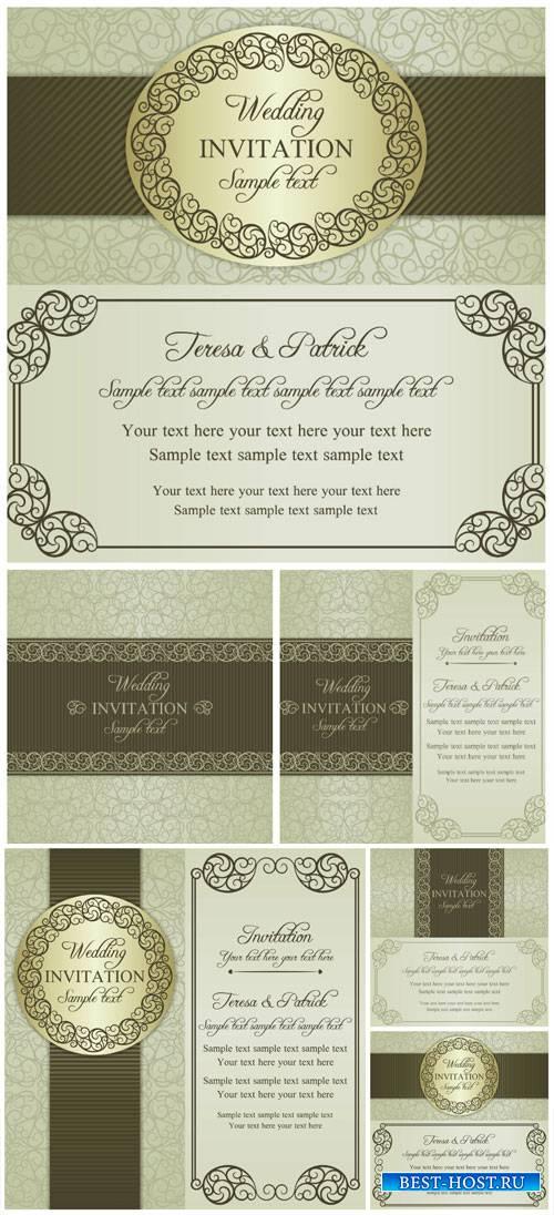 Wedding invitation vector, vintage backgrounds