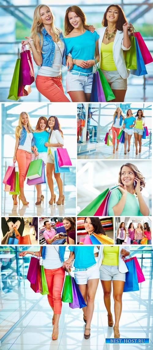 Fashionable girl and shopping - stock photos