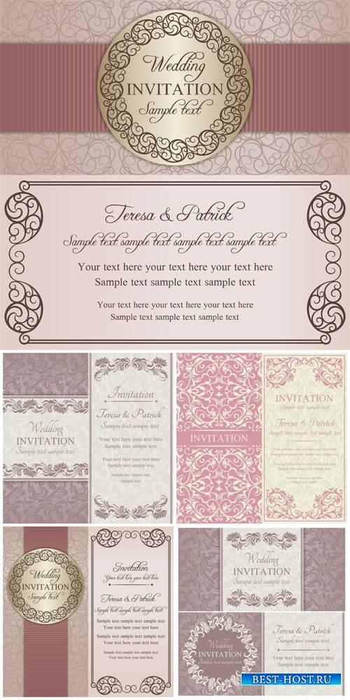 Wedding invitation vector, vintage background with patterns