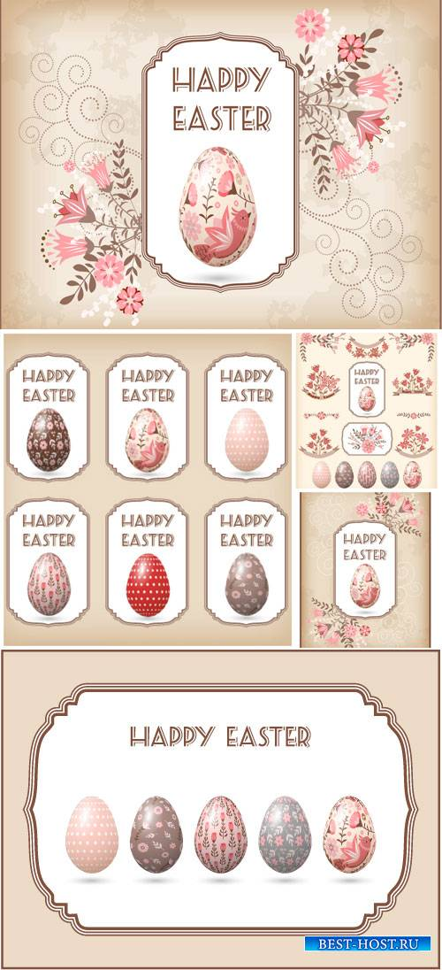 Easter vector, gentle background with Easter eggs and flowers