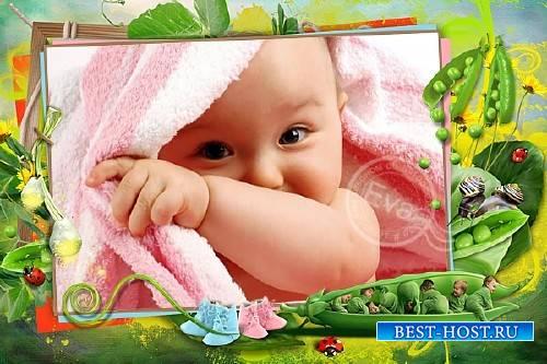 Детская рамочка для фотошопа - Маленькие горошины