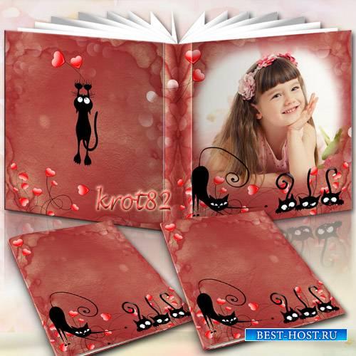 Детская фотокнига для фотошопа с черными кисками