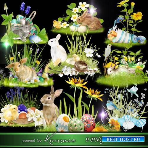 Пасхальные кластеры-полянки на прозрачном фоне с кроликами, цветами, крашенками - Счастливой Пасхи