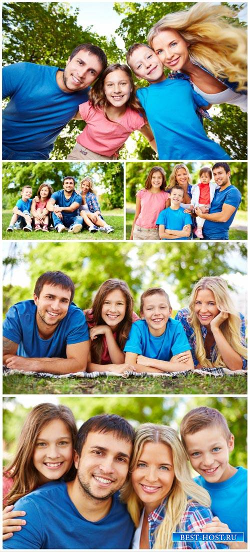 Happy family in nature, parents and children - stock photos