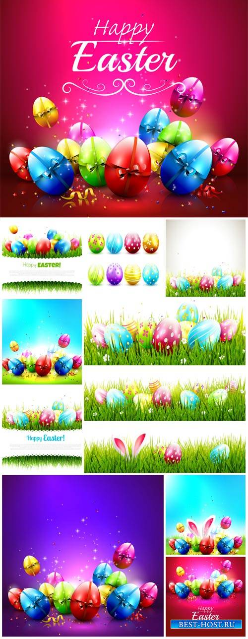 Easter backgrounds and banners vector, spring