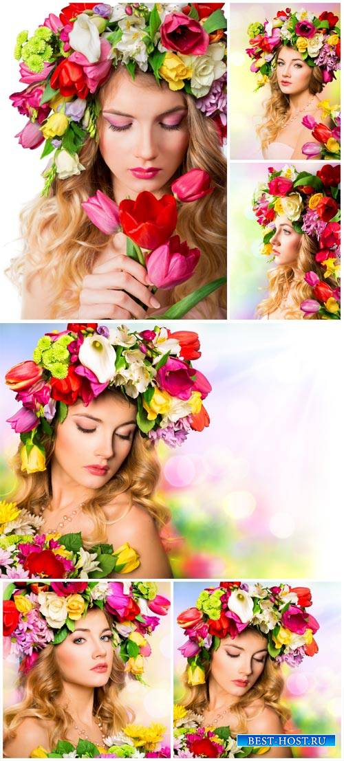 Woman with flowers, spring bouquet - stock photos