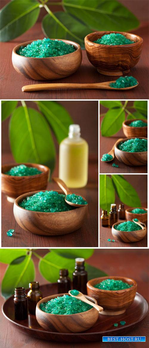 Spa backgrounds, aromatic oils and sea salt - stock photos