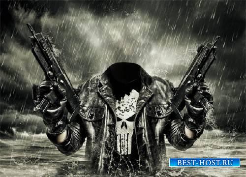 Шаблон для фотошопа - С оружием в воде