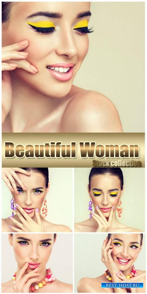 Woman with fashionable makeup - stock photos