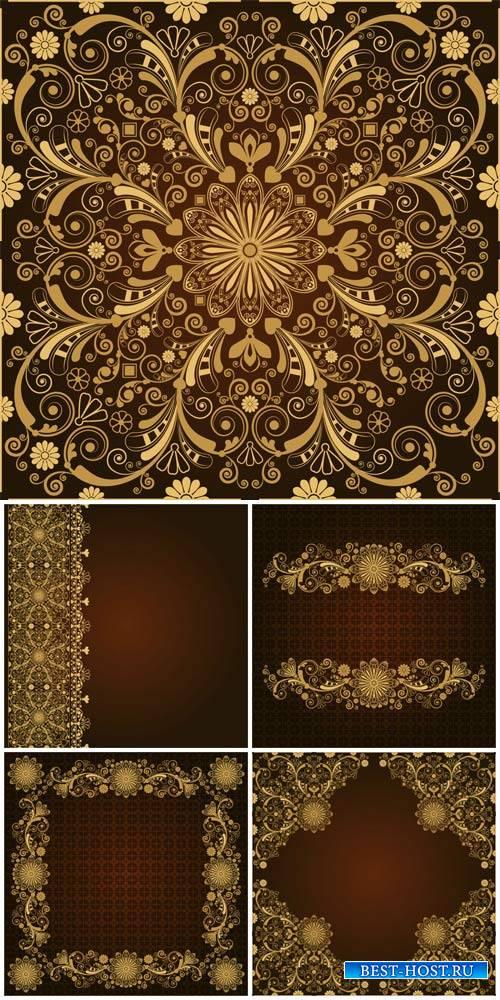 Golden patterns, vintage backgrounds vector