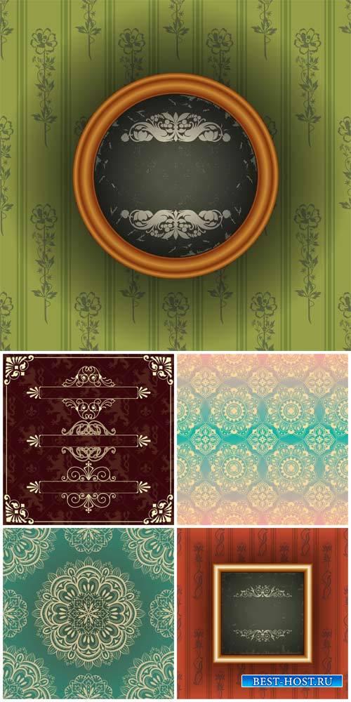 Vintage backgrounds vector, floral patterns,