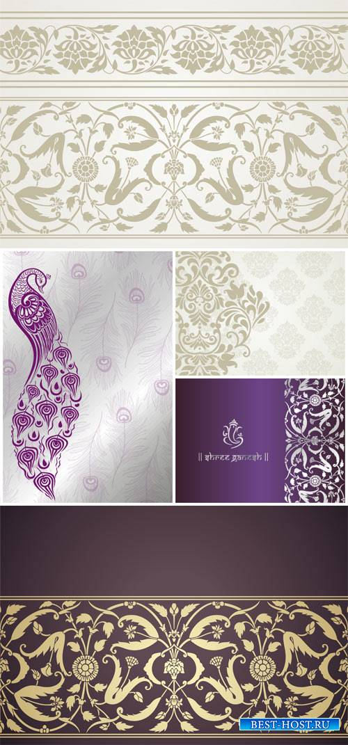 Vector backgrounds with indian patterns and ornaments