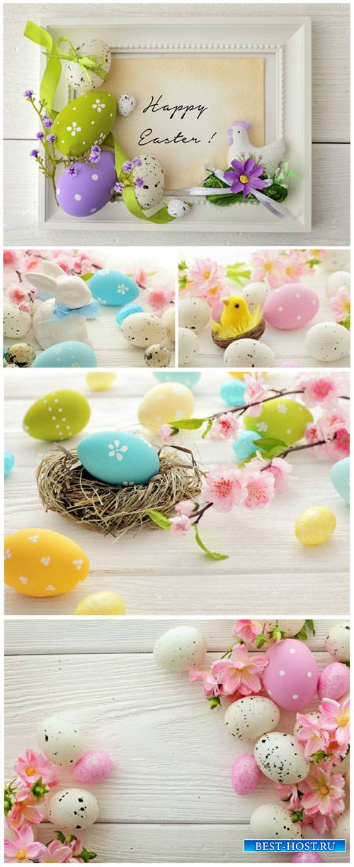 Happy Easter, Easter eggs and spring flowers - Stock Photo
