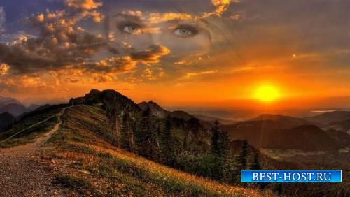 Рамка для фотографии - Закат солнца на фоне гор