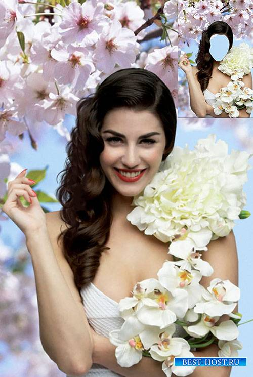 Женский фотошаблон - Девушка-весна