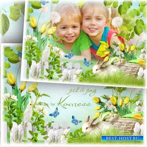 Рамка для фото с цветами, птичкой и кроликом - Зеленая полянка