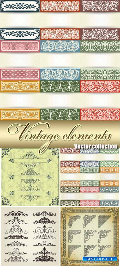Vintage decorative elements in the vector, ornaments and patterns