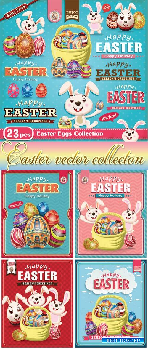 Vector easter with bunnies and easter eggs, vintage