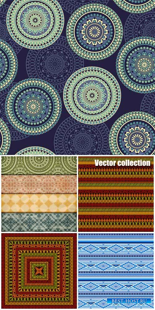 Vector backgrounds with different patterns, vintage backgrounds