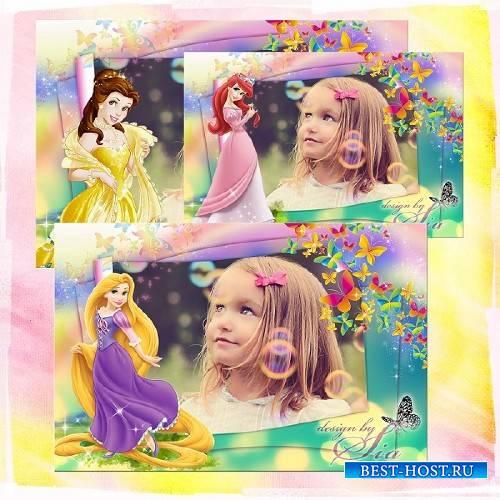 Детская рамочка для фото - Принцессы Диснея: Рапунцель, Русалочка Ариэль, Бель