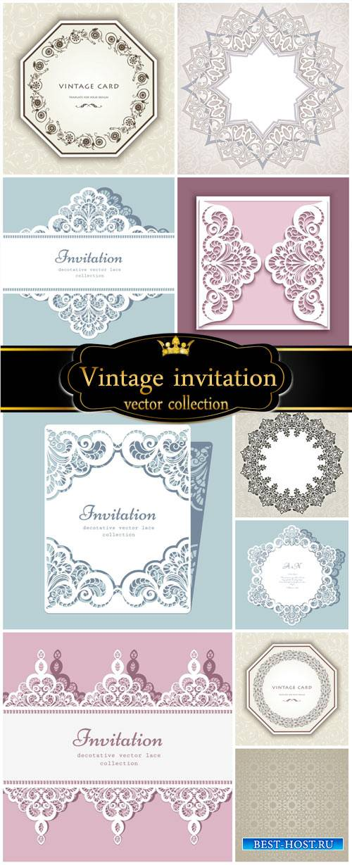 Vector invitation, vintage background with patterns