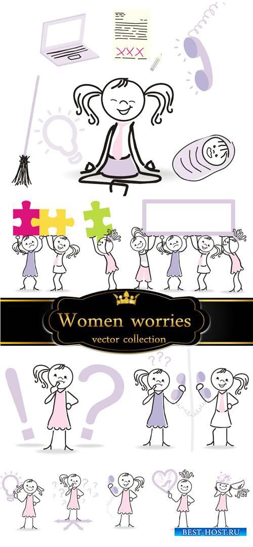 Women's worries, ideas, vector