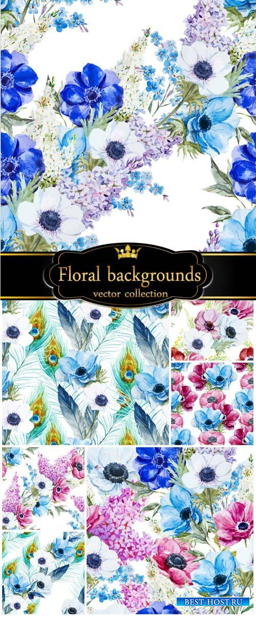 Vector background with flowers and peacock feathers
