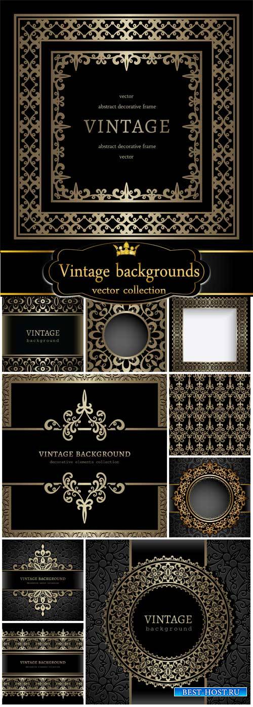 Vintage backgrounds vector, golden patterns and ornaments