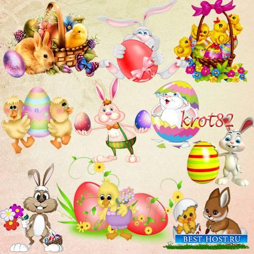 Клипарт на прозрачном фоне  – Пасхальные зайцы и цыплята с яйцами