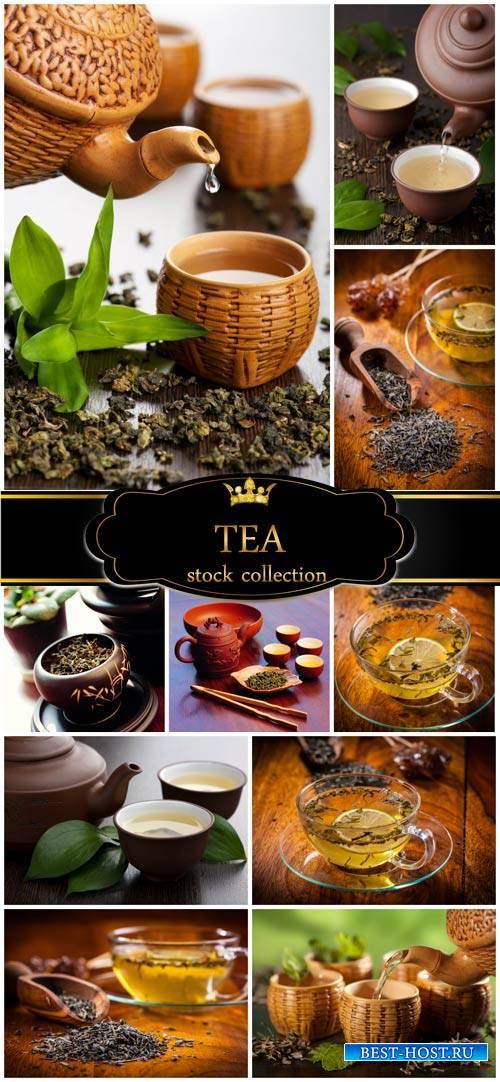 Tea, kettle with tea and cups - stock photos