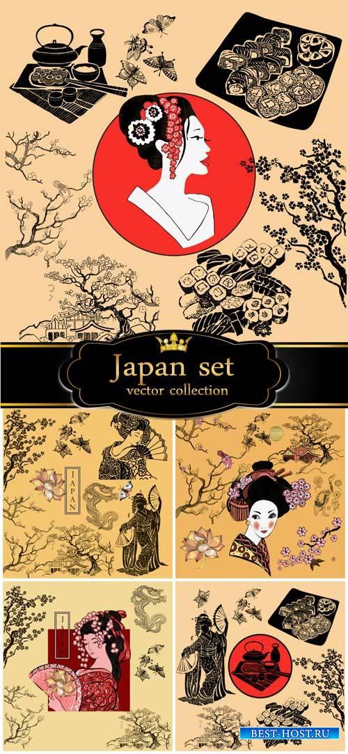 Japan vector, geisha, sakura