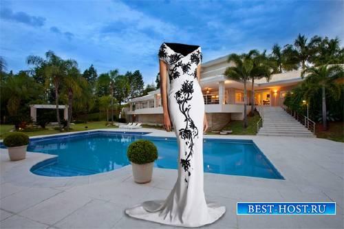PSD шаблон для девушек - В красивом вечернем платье у бассейна