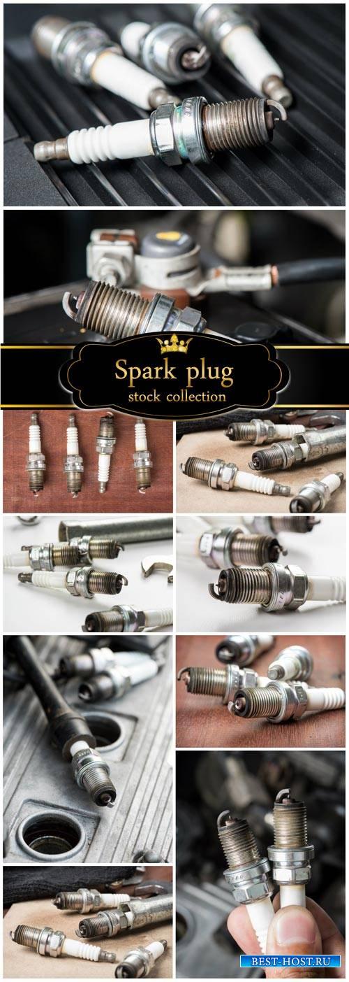 Spark plugs, auto parts - Stock Photo