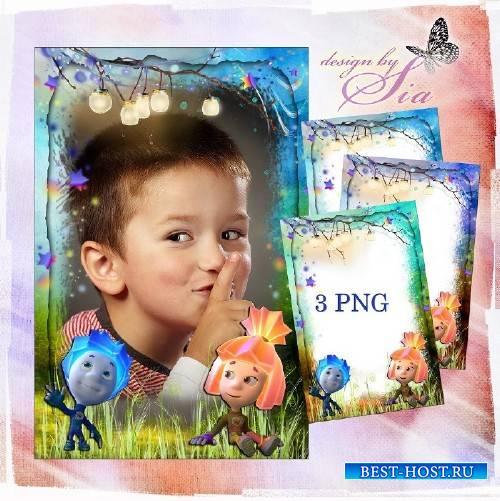 Детская рамочка для фотошопа - Фиксики: Нолик и Симка