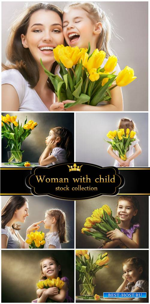 Woman with child tulips - stock photos