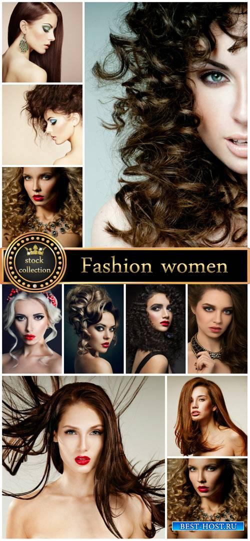 Fashionable women, beautiful hairstyles stock photos